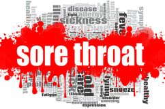 Sore throat word cloud design. Creative illustration of idea word lettering typography . 3D rendering Stock Photography