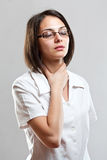 Sore throat young woman Royalty Free Stock Images