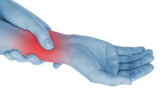 Sore wrist, hand, shown red Stock Image