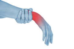 Sore wrist, hand, shown red. Isolated on white background Royalty Free Stock Photo