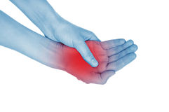 Sore wrist, hand, shown red Royalty Free Stock Image