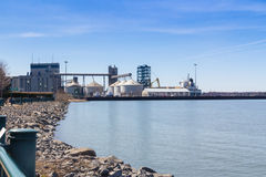 Sorel-Tracy industrial harbor Quai no2. Sorel-Tracy, Canada-20 April 2016 : Sorel-Tracy industrial harbor Quai no.2 on St-Lawrence river Quebec Canada at daytime stock image