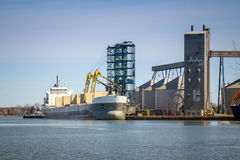 Sorel-Tracy industrial port. Ship at Sorel-Tracy industrial port Quebec Canada St. Lawrence river Royalty Free Stock Image