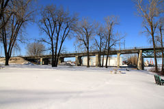 Sorel-Tracy park and bridge. In winter royalty free stock photo