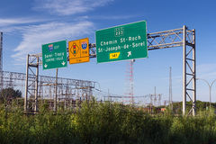 Sorel-Tracy province of Quebec canadian city highway sign on daytime. Sorel-Tracy, Canada- May 27, 2015: Sorel-Tracy province of Quebec canadian city MRC de Royalty Free Stock Image