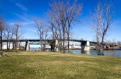 Sorel-Tracy Quebec Canada old bridge park. Landscape at springtime Stock Images