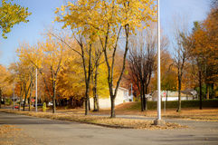 Sorel-Tracy town at fall. Sorel-Tracy town street at fall stock photography