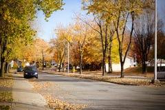 Sorel-Tracy town at fall. Sorel-Tracy town street at fall Royalty Free Stock Image