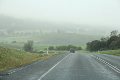 Sorell Causway Highway. Driving on cloud filled highway in Tasmania in the town of Sorell to Port Arthur Stock Image