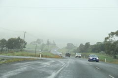 Sorell Causway Highway. Driving on cloud filled highway in Tasmania in the town of Sorell to Port Arthur Stock Images