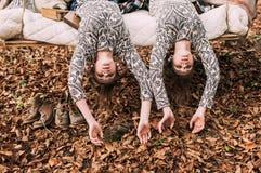 Sorella gemellata su oscillazione nella foresta di autunno fotografia stock