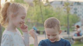 Sorella sorridente ed abbraccio divertente del fratello in parco lustro del sole Movimento lento stock footage