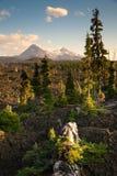 Sorelle catena montuosa Lava Field del passaggio tre di Mckenzie della cascata Fotografia Stock Libera da Diritti