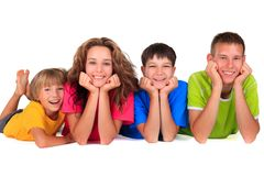 Sorelle e fratelli felici fotografia stock