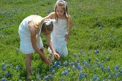 Sorelle in fiori immagini stock