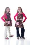 Sorelle gemellare nei grembiuli del puntino di Polka immagine stock