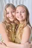 Sorelle gemellare sveglie Fotografia Stock Libera da Diritti