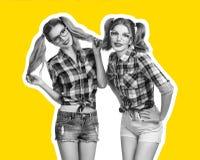 Sorelle migliori amici della giovane donna Rivista del collage Fotografia Stock