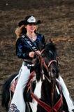 Sorelle, Oregon, giugno 2013, regina Sara Marcu del rodeo fotografia stock libera da diritti