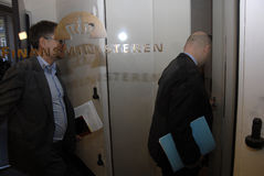 SOREN PAPE POULSEN & BRIAN MIKKELSEN. Copenhagen/Denmark/ _ 27th October 2015 _Soren Pape Poulsen (S�ren Paper poulsen) leaders of danish conservative Royalty Free Stock Photos