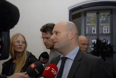 SOREN PAPE POULSEN & BRIAN MIKKELSEN. Copenhagen/Denmark/ _ 27th October 2015 _Soren Pape Poulsen (S�ren Paper poulsen) leaders of danish conservative Stock Photo