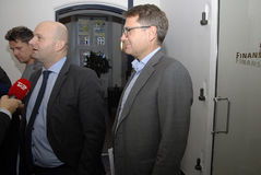 SOREN PAPE POULSEN & BRIAN MIKKELSEN. Copenhagen/Denmark/ _ 27th October 2015 _Soren Pape Poulsen (S�ren Paper poulsen) leaders of danish conservative Stock Photography