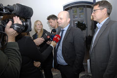SOREN PAPE POULSEN & BRIAN MIKKELSEN. Copenhagen/Denmark/ _ 27th October 2015 _Soren Pape Poulsen (S�ren Paper poulsen) leaders of danish conservative Stock Images
