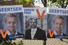 SOREN PIND _ELETION POSTER. COPENAHGEN /DENAMRK 31 May 2015_ Unknow prson vandalized elections of danish politcians from liberal political aprty Soren Pind ( royalty free stock photos