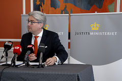 SOREN PIND_MINISTER FOR JUSTICE. Copenhagen/Denmark/ 02 October   2015_Soren Pind (S�ren Pind)danish minister for law and order _justice_holds press conference Royalty Free Stock Images