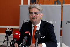 SOREN PIND_MINISTER FOR JUSTICE. Copenhagen/Denmark/ 02 October   2015_Soren Pind (S�ren Pind)danish minister for law and order _justice_holds press conference Stock Photo