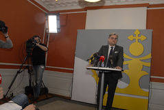 SOREN PIND(S�REN PIND) MINISTER FOR JUSTICE. Copenhagen/Denmark/ _ 04 March  2016_Soren Pind (S�ren Pind) danish minister for justice hlds press conference Royalty Free Stock Image