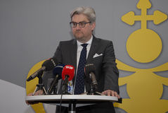 SOREN PIND(S�REN PIND) MINISTER FOR JUSTICE. Copenhagen/Denmark/ _ 04 March  2016_Soren Pind (S�ren Pind) danish minister for justice hlds press conference Royalty Free Stock Photo