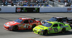 Sorenson, Menard and Hamlin Battle. Reed Sorenson, Paul Menard and Denny Hamlin battle side by side through turn 3 at the 2007 spring NASCAR race at Richmond Stock Photography