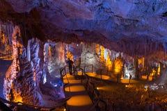 Soreq洞。钟乳石石笋洞穴。以色列 免版税库存图片