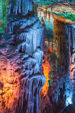 Soreq Cave . Stalactite Stalagmite cavern . Israel. Cave stalactites and stalagmites Soreq in Israel. beautiful lighting Royalty Free Stock Photo