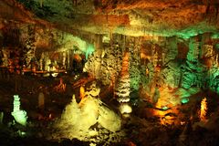 Soreq stalactite cave. ISRAEL, SOREQ CAVE - MAY 03, 2013: Sorek stalactite cave was discovered in May 1968. Maximum length - 91 meters, width - 80 meters, the Royalty Free Stock Image