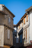 Soreze Village, France. Half-timbered houses in the medieval village of Soreze, Tarn, Midi-Pyrenees, France stock photo