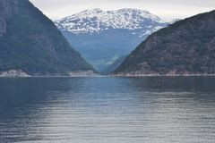 The Sorfjord in Norway, Scandinavia, Europe. The Sorfjord in Norway on a chilly and rainy day in August royalty free stock photo