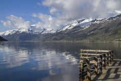 Sorfjord. Views of the Sorfjord surrounding of snow-capped mountains stock photography