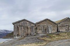 Sorfoldafjord. Wooden huts built on rock slabs at Sorfoldafjord Royalty Free Stock Photos