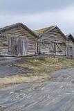 Sorfoldafjord. Wooden huts built on rock slabs at Sorfoldafjord Stock Images