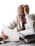 Sorge des alten Buchhalters Stockbild