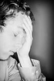 Sorge, Ermüdung, Frustration Stockfoto