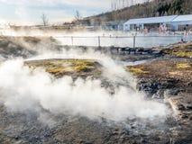 Sorgente di acqua calda segreta della laguna in Fludir, l'Islanda Immagine Stock Libera da Diritti