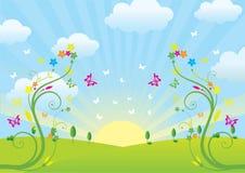 Sorgente e fiori Immagini Stock