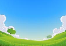 Sorgente e paesaggio di estate - grandangolare Immagine Stock