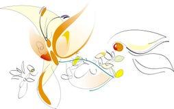 Sorgente - fiori e farfalla - illustrazione artistica di vettore Immagini Stock