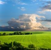 sorgente nuvolosa del cielo di paesaggio Fotografia Stock Libera da Diritti