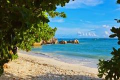 Sorgente tropicale D'Argent della spiaggia alle Seychelles Fotografie Stock Libere da Diritti