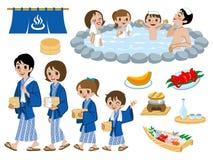 Sorgenti di acqua calda giapponesi messe, famiglia illustrazione vettoriale